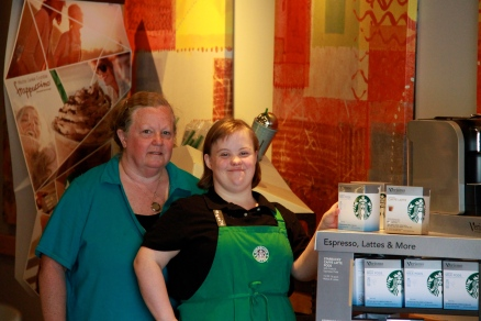 Job Coach Connie and Amanda who works at Starbucks